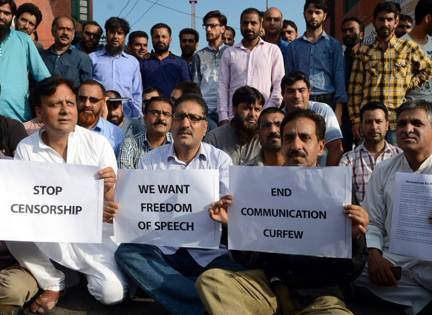 Kashmiri Journalists Protesting Against Media Censorship in Kashmir.