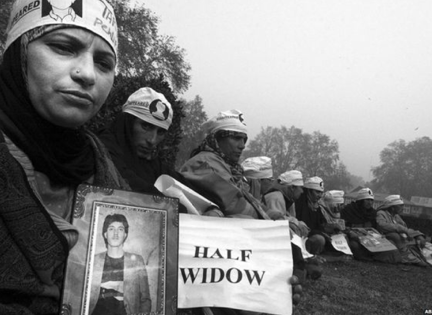 "Half-widow is a term given to Kashmiri women whose husbands have disappeared and were still missing during the ongoing conflict in Kashmir. These women are called ""half-widows"" because they have no idea whether their husbands are dead or alive."